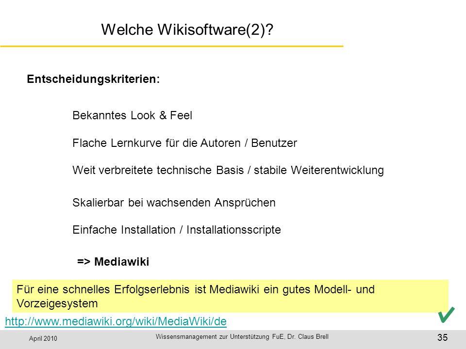 April 2010 Wissensmanagement zur Unterstützung FuE, Dr. Claus Brell 35 Welche Wikisoftware(2)? Entscheidungskriterien: Bekanntes Look & Feel Flache Le
