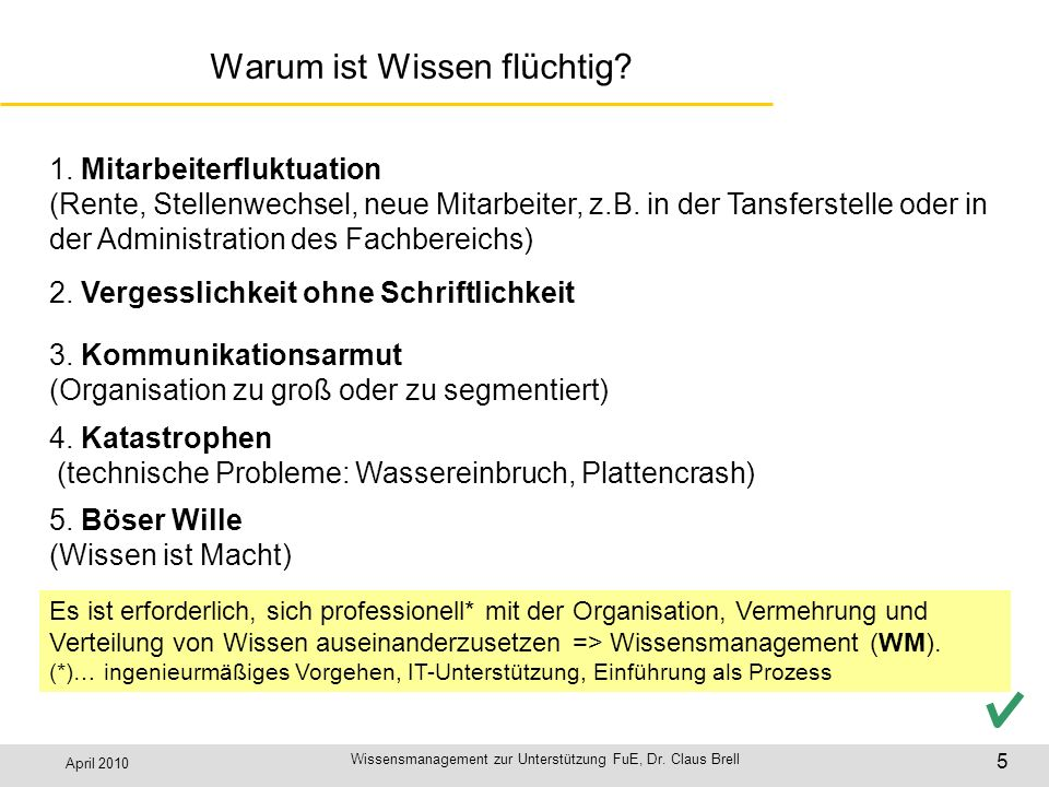 April 2010 Wissensmanagement zur Unterstützung FuE, Dr. Claus Brell 5 Warum ist Wissen flüchtig? 2. Vergesslichkeit ohne Schriftlichkeit 1. Mitarbeite