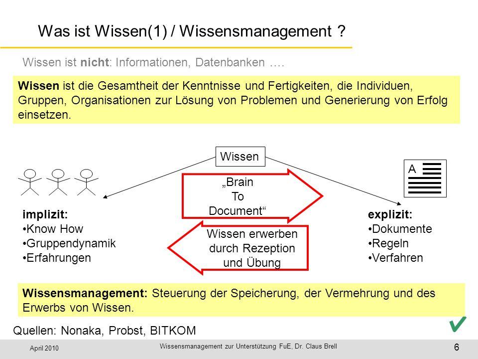 April 2010 Wissensmanagement zur Unterstützung FuE, Dr. Claus Brell 6 Was ist Wissen(1) / Wissensmanagement ? Wissen ist die Gesamtheit der Kenntnisse