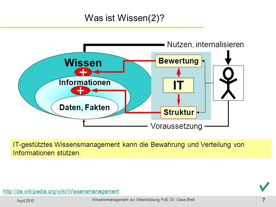 April 2010 Wissensmanagement zur Unterstützung FuE, Dr. Claus Brell 7 Was ist Wissen(2)? + Nutzen, internalisieren Voraussetzung Wissen + IT Bewertung