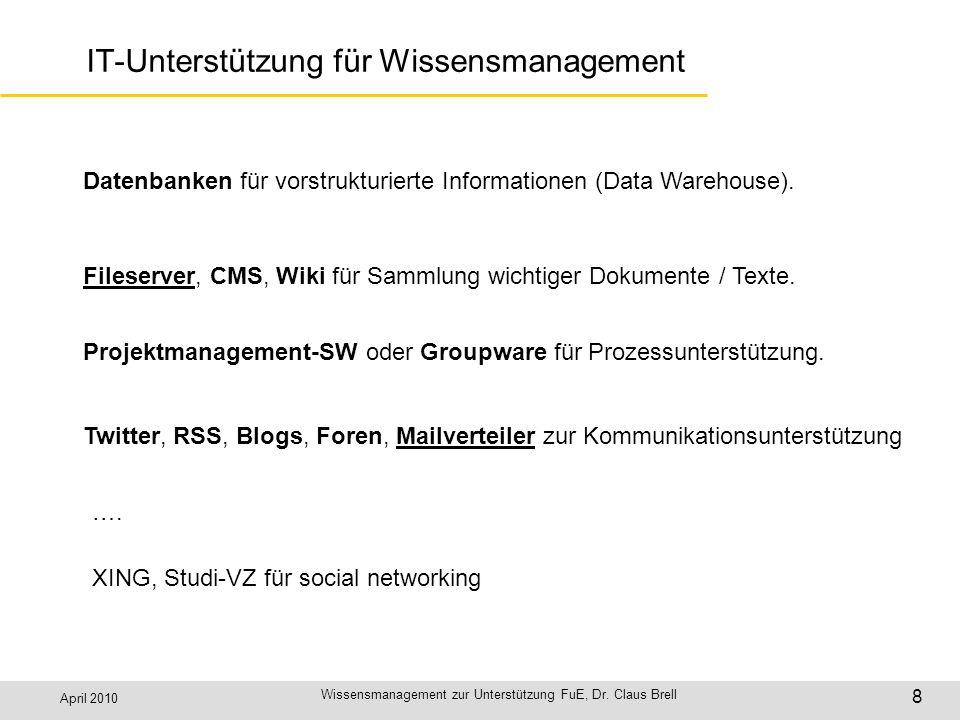 April 2010 Wissensmanagement zur Unterstützung FuE, Dr. Claus Brell 8 IT-Unterstützung für Wissensmanagement Datenbanken für vorstrukturierte Informat