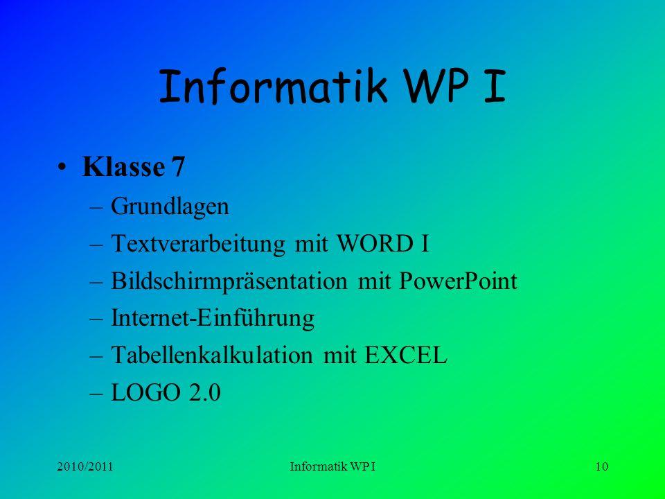 2010/2011Informatik WP I9 INFORMATIK WP I Hardware, Aufrüsten von Computern Betriebsysteme (Win 2000, Win XP) Netzwerke Ergonomie Bildschirmarbeit Ber