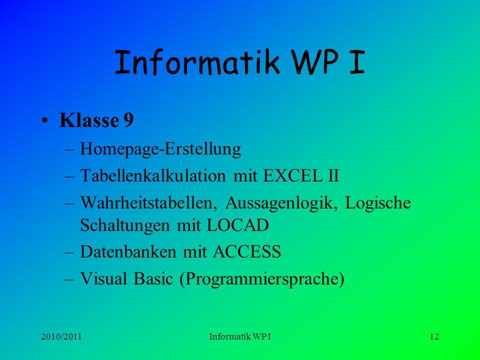 2010/2011Informatik WP I11 Informatik WP I Klasse 8 –Bildbearbeitung –Textverarbeitung mit WORD II –Multimedia-Design-Mediator –GrafStat –Zahlensystem