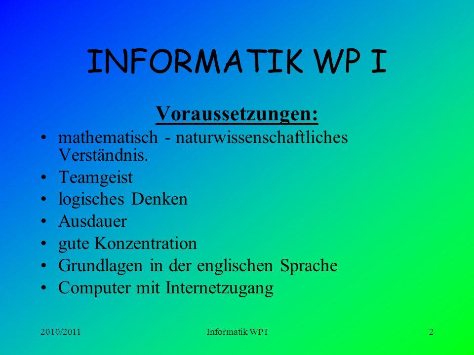 2010/2011Informatik WP I12 Informatik WP I Klasse 9 –Homepage-Erstellung –Tabellenkalkulation mit EXCEL II –Wahrheitstabellen, Aussagenlogik, Logische Schaltungen mit LOCAD –Datenbanken mit ACCESS –Visual Basic (Programmiersprache)