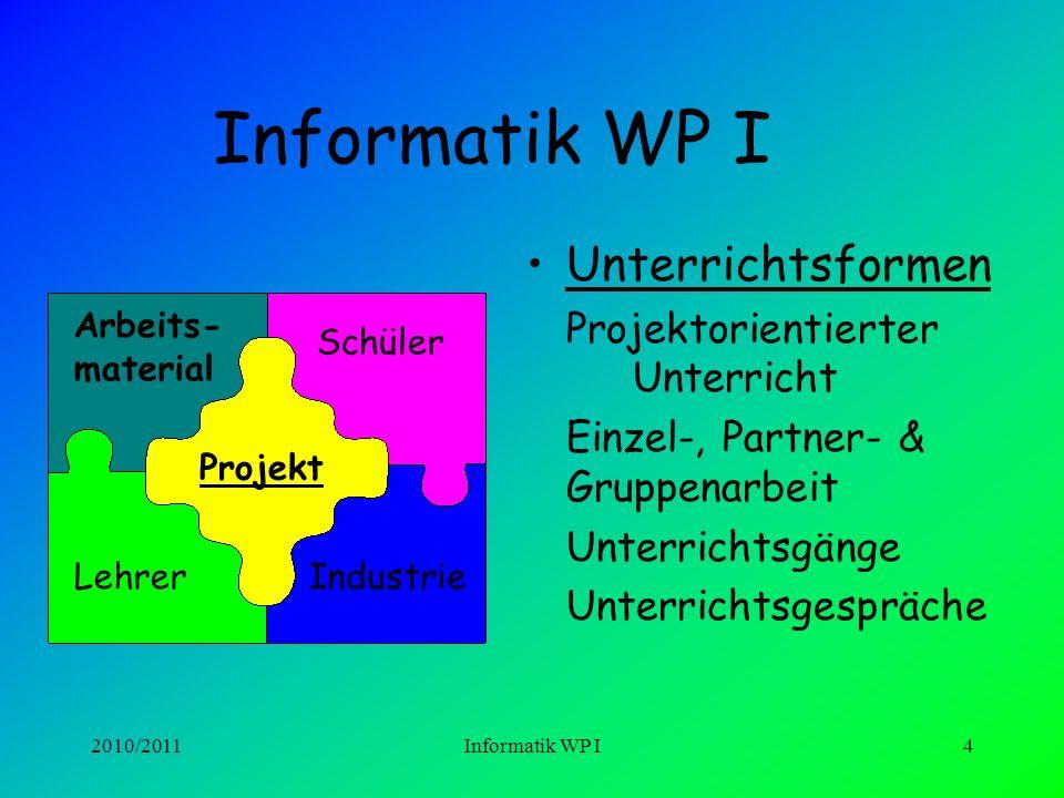 2010/2011Informatik WP I3 INFORMATIK WP I Informatik ist nicht nur Arbeit am Computer sondern: Erkennen von Problemen Strukturieren von Arbeitsabläufe
