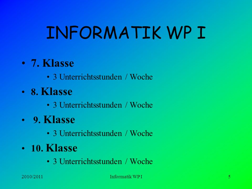 2010/2011Informatik WP I5 INFORMATIK WP I 7.Klasse 3 Unterrichtsstunden / Woche 8.