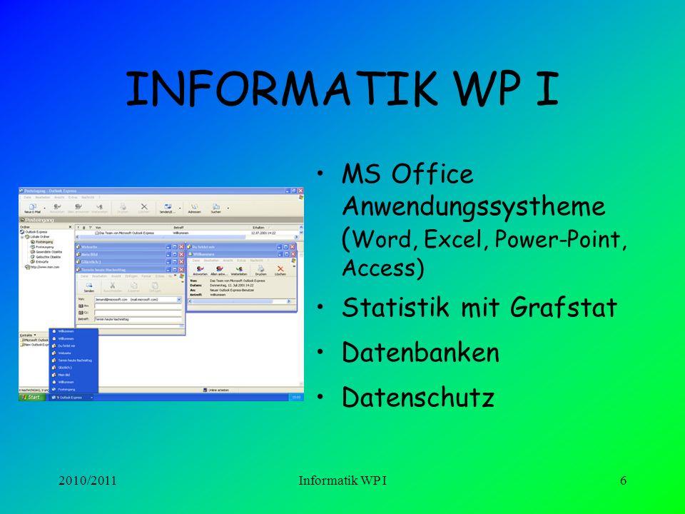2010/2011Informatik WP I6 INFORMATIK WP I MS Office Anwendungssystheme ( Word, Excel, Power-Point, Access) Statistik mit Grafstat Datenbanken Datenschutz