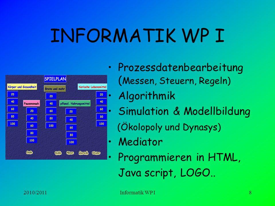 2010/2011Informatik WP I7 Internetdienste + Recherche Webseiten- Gestaltung Medienerziehung