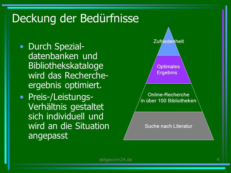 zeitgewinn24.de4 Deckung der Bedürfnisse Durch Spezial- datenbanken und Bibliothekskataloge wird das Recherche- ergebnis optimiert.