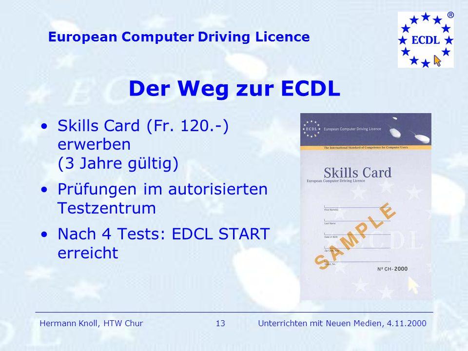 Hermann Knoll, HTW Chur European Computer Driving Licence 13Unterrichten mit Neuen Medien, 4.11.2000 Der Weg zur ECDL Skills Card (Fr.