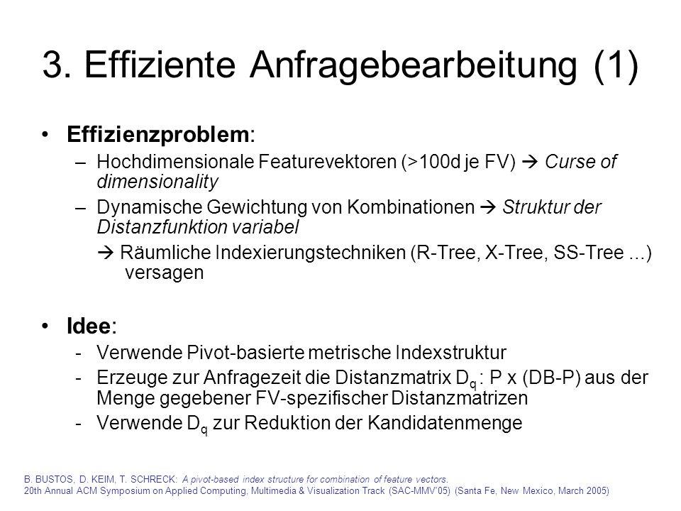3. Effiziente Anfragebearbeitung (1) Effizienzproblem: –Hochdimensionale Featurevektoren (>100d je FV) Curse of dimensionality –Dynamische Gewichtung