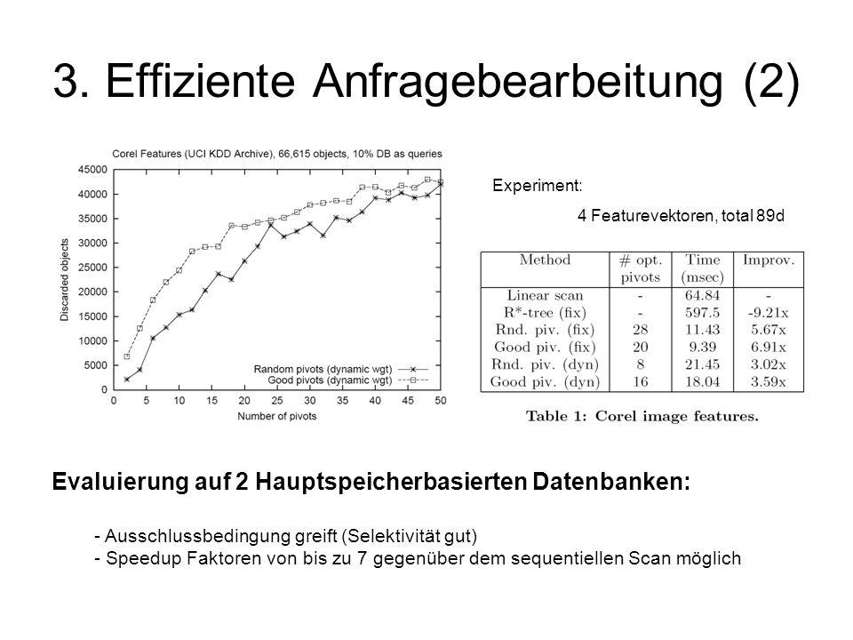 3. Effiziente Anfragebearbeitung (2) Evaluierung auf 2 Hauptspeicherbasierten Datenbanken: - Ausschlussbedingung greift (Selektivität gut) - Speedup F