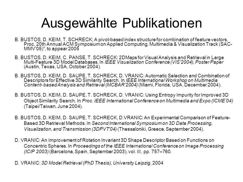 Ausgewählte Publikationen B. BUSTOS, D. KEIM, T. SCHRECK: A pivot-based index structure for combination of feature vectors, Proc. 20th Annual ACM Symp