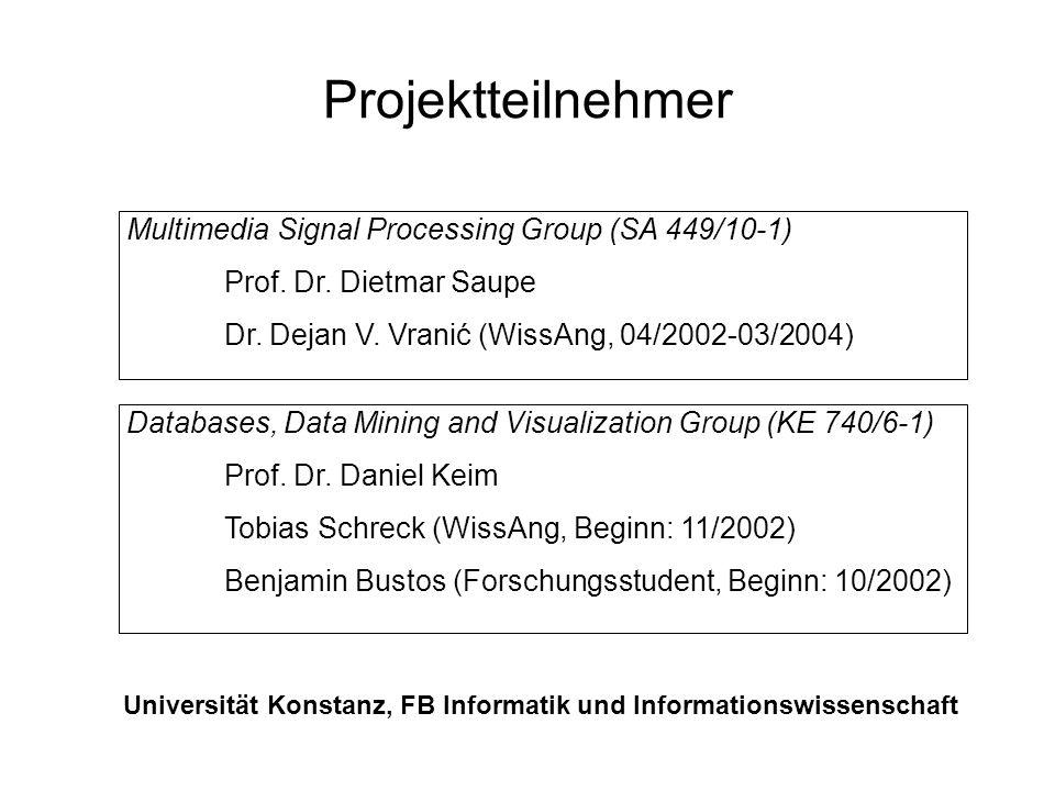 Projektüberblick Featuredefinition und Evaluierung Selektion und Kombination von Feature Vektoren Effiziente Anfragebearbeitung SOM-basiertes Retrievalsystem