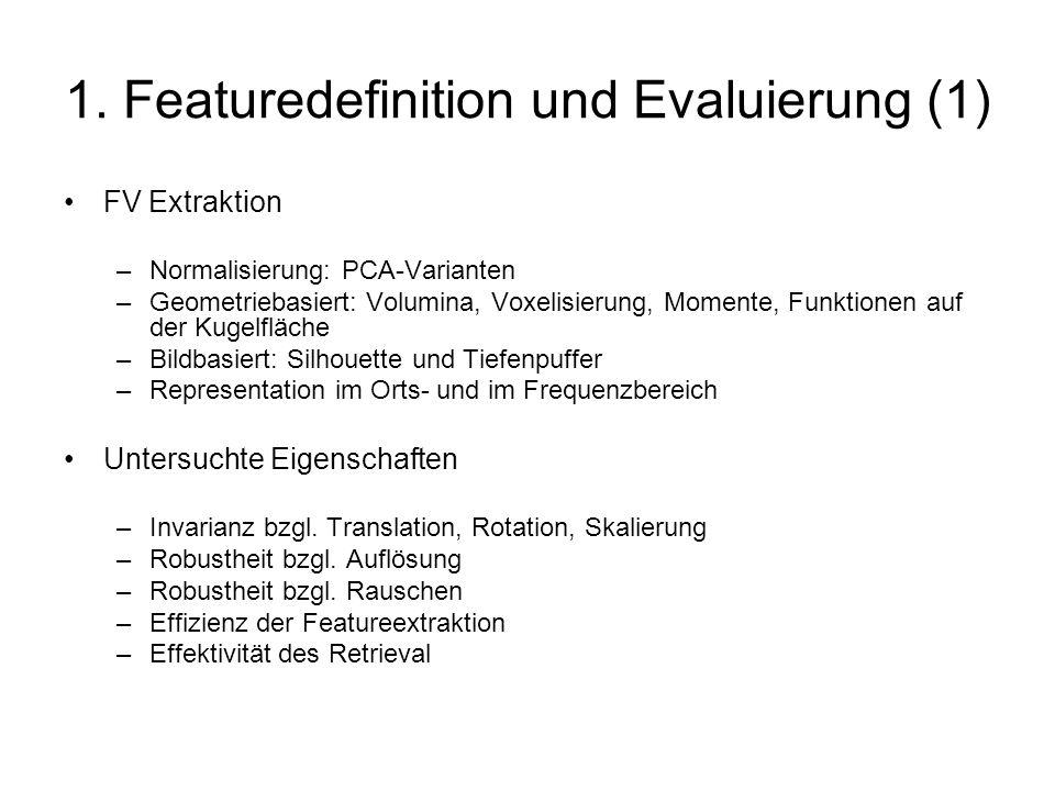 1. Featuredefinition und Evaluierung (1) FV Extraktion –Normalisierung: PCA-Varianten –Geometriebasiert: Volumina, Voxelisierung, Momente, Funktionen