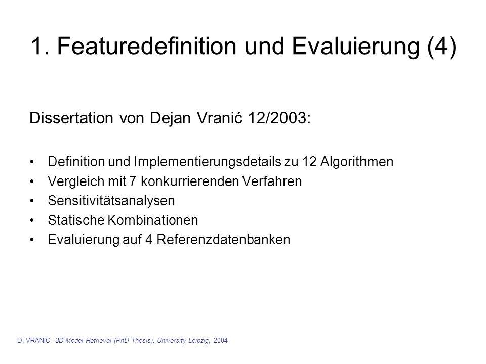 1. Featuredefinition und Evaluierung (4) Dissertation von Dejan Vranić 12/2003: Definition und Implementierungsdetails zu 12 Algorithmen Vergleich mit
