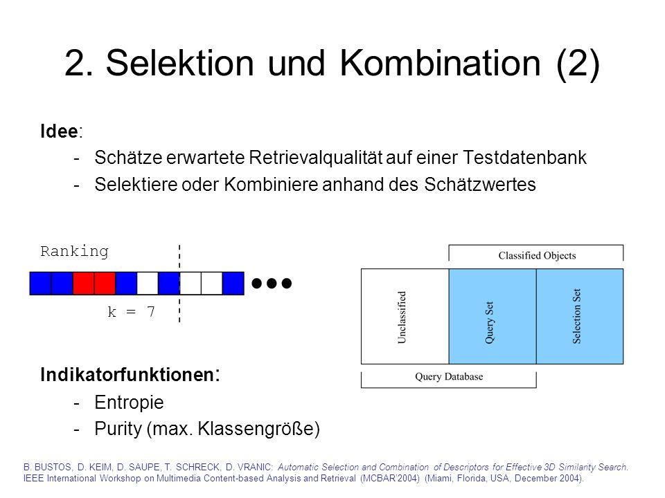 2. Selektion und Kombination (2) Idee: -Schätze erwartete Retrievalqualität auf einer Testdatenbank -Selektiere oder Kombiniere anhand des Schätzwerte