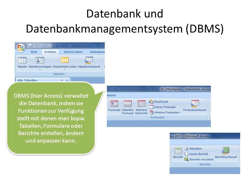 Datenbank und Datenbankmanagementsystem (DBMS) DBMS (hier Access) verwaltet die Datenbank, indem sie Funktionen zur Verfügung stellt mit denen man bsp