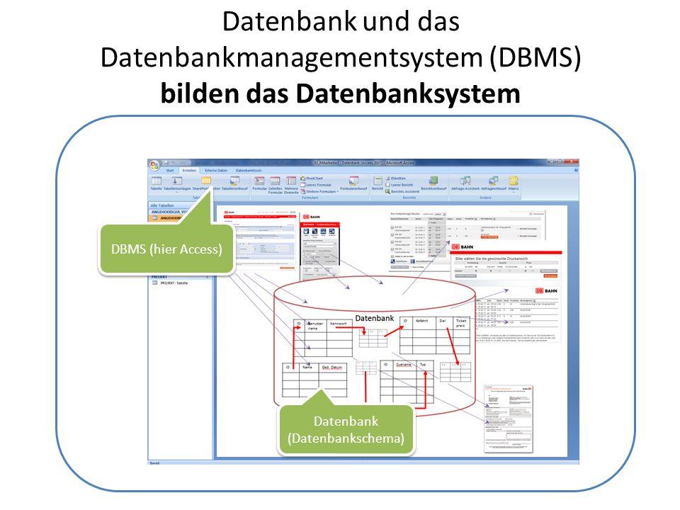 Datenbank und das Datenbankmanagementsystem (DBMS) bilden das Datenbanksystem Datenbank (Datenbankschema) DBMS (hier Access)
