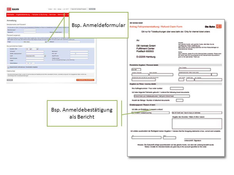 Bsp. Anmeldeformular Bsp. Anmeldebestätigung als Bericht