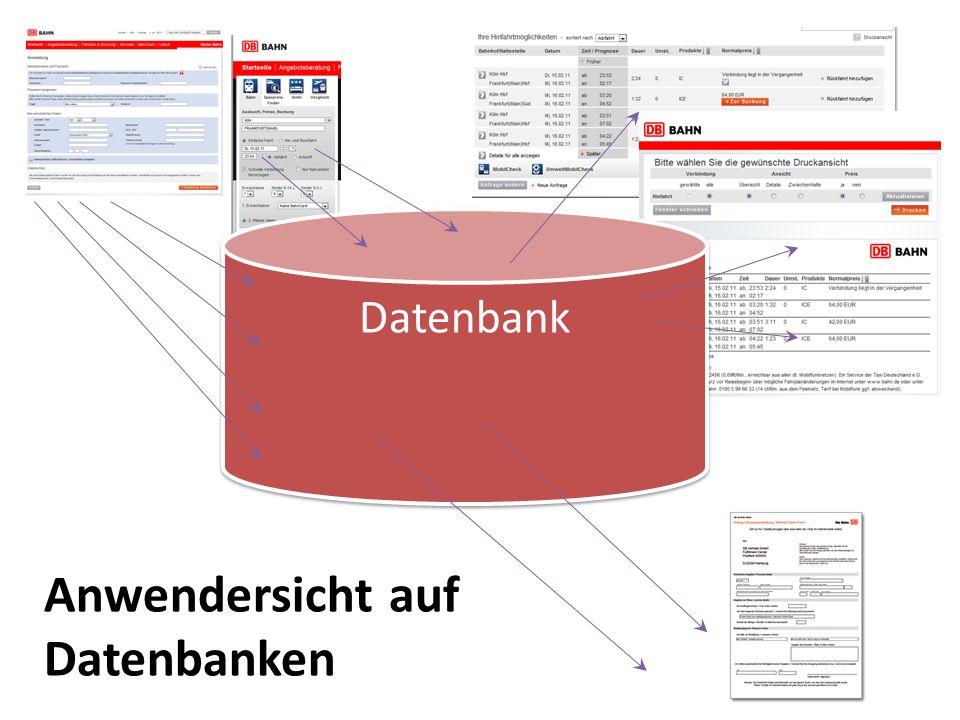 Datenbank Anwendersicht auf Datenbanken