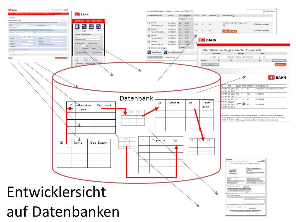 Datenbank IDNameGeb_Datum IDAbfahrtZielTicket preis IDZugnameTyp IDBenutzer name Kennwort Entwicklersicht auf Datenbanken