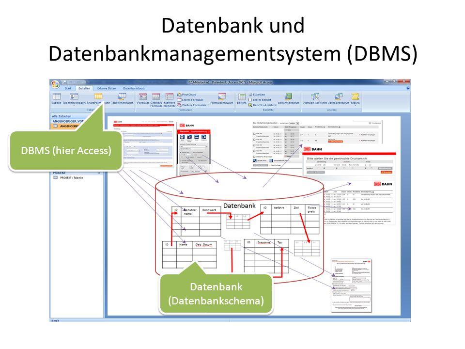 Datenbank und Datenbankmanagementsystem (DBMS) Datenbank (Datenbankschema) DBMS (hier Access)