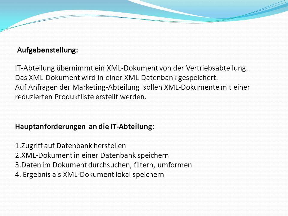 Aufgabenstellung: IT-Abteilung übernimmt ein XML-Dokument von der Vertriebsabteilung.