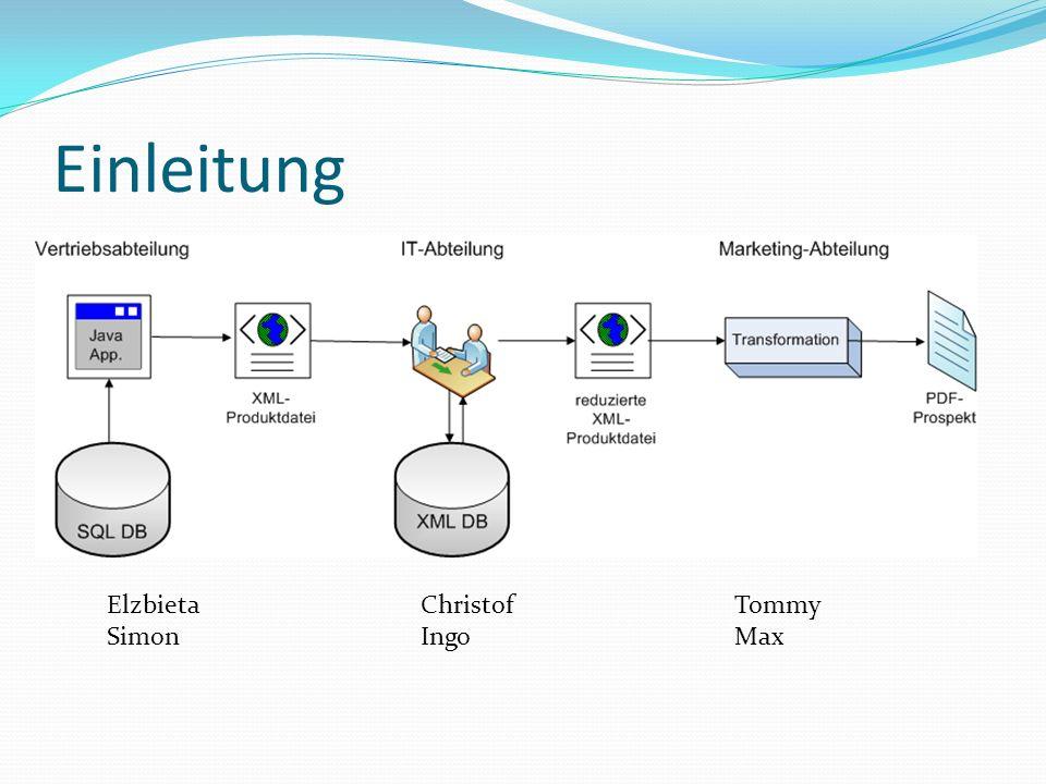 Vertriebsabteilung: Aufgaben Aktuellen Datenbestand in Form XML-Dokuments bereitstellen Abbildung zwischen SQL und XML