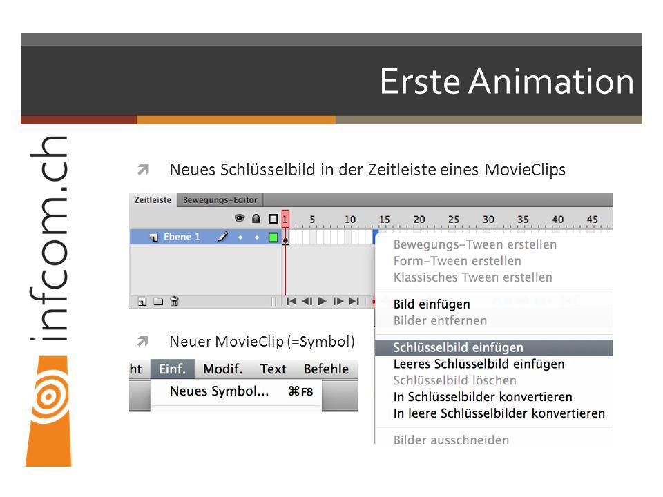 Erste Animation Neues Schlüsselbild in der Zeitleiste eines MovieClips Neuer MovieClip (=Symbol)