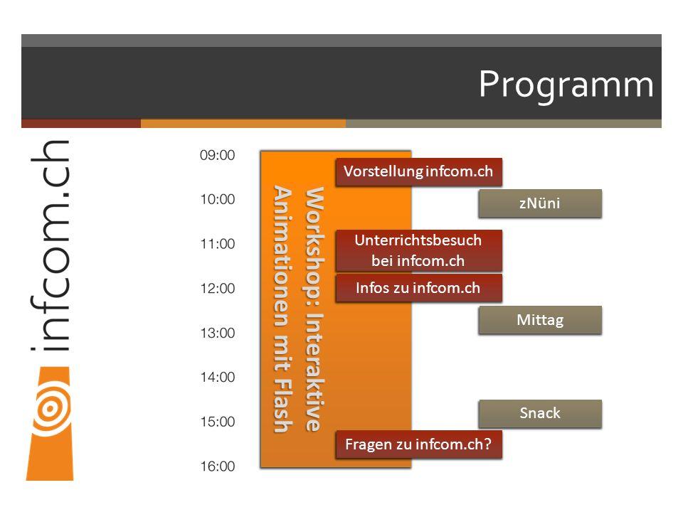 Programm Workshop: Interaktive Animationen mit Flash Vorstellung infcom.ch Unterrichtsbesuch bei infcom.ch Fragen zu infcom.ch? Infos zu infcom.ch zNü