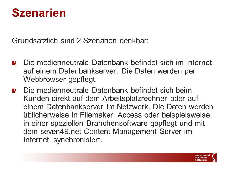 6 Szenarien Grundsätzlich sind 2 Szenarien denkbar: Die medienneutrale Datenbank befindet sich im Internet auf einem Datenbankserver. Die Daten werden