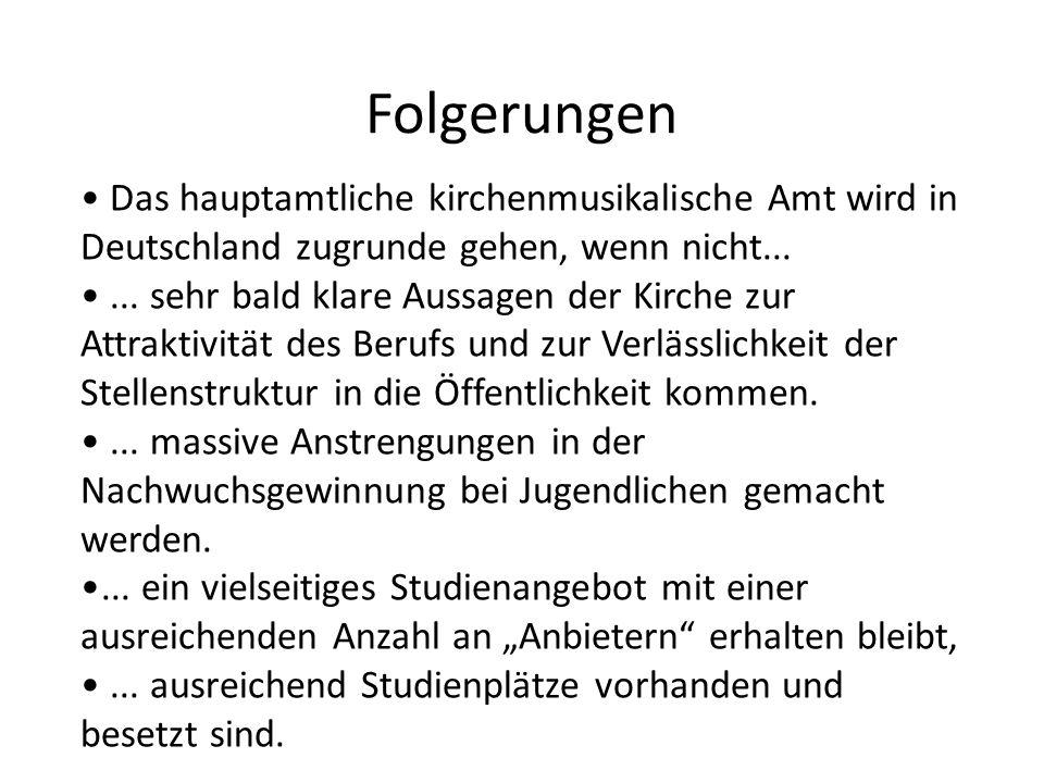 Folgerungen Das hauptamtliche kirchenmusikalische Amt wird in Deutschland zugrunde gehen, wenn nicht......