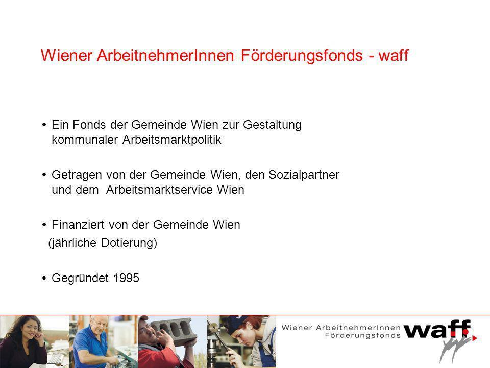 Wiener ArbeitnehmerInnen Förderungsfonds - waff Ein Fonds der Gemeinde Wien zur Gestaltung kommunaler Arbeitsmarktpolitik Getragen von der Gemeinde Wi