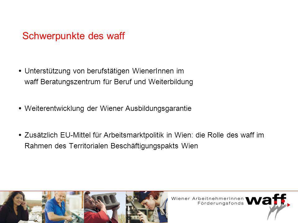 Unterstützung von berufstätigen WienerInnen im waff Beratungszentrum für Beruf und Weiterbildung Weiterentwicklung der Wiener Ausbildungsgarantie Zusä
