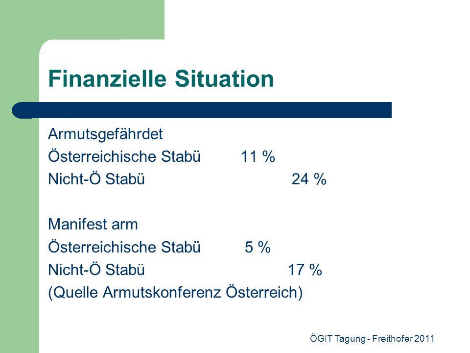 ÖGIT Tagung - Freithofer 2011 Finanzielle Situation Armutsgefährdet Österreichische Stabü 11 % Nicht-Ö Stabü 24 % Manifest arm Österreichische Stabü 5