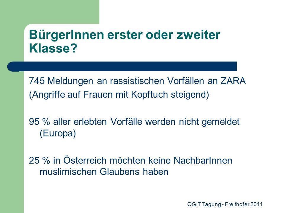 ÖGIT Tagung - Freithofer 2011 BürgerInnen erster oder zweiter Klasse? 745 Meldungen an rassistischen Vorfällen an ZARA (Angriffe auf Frauen mit Kopftu