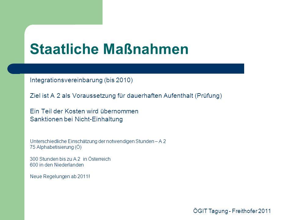 ÖGIT Tagung - Freithofer 2011 Staatliche Maßnahmen Integrationsvereinbarung (bis 2010) Ziel ist A 2 als Voraussetzung für dauerhaften Aufenthalt (Prüf