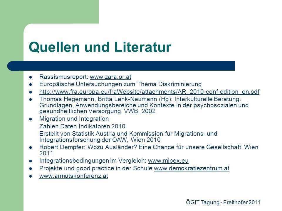 ÖGIT Tagung - Freithofer 2011 Quellen und Literatur Rassismusreport: www.zara.or.atwww.zara.or.at Europäische Untersuchungen zum Thema Diskriminierung