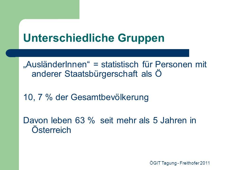ÖGIT Tagung - Freithofer 2011 Unterschiedliche Gruppen AusländerInnen = statistisch für Personen mit anderer Staatsbürgerschaft als Ö 10, 7 % der Gesa