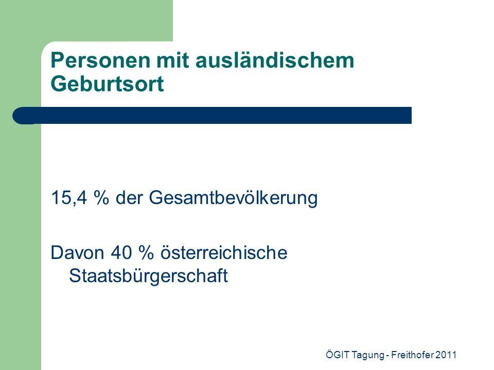 ÖGIT Tagung - Freithofer 2011 Personen mit ausländischem Geburtsort 15,4 % der Gesamtbevölkerung Davon 40 % österreichische Staatsbürgerschaft