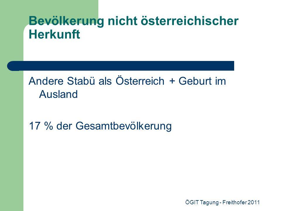 ÖGIT Tagung - Freithofer 2011 Bevölkerung nicht österreichischer Herkunft Andere Stabü als Österreich + Geburt im Ausland 17 % der Gesamtbevölkerung