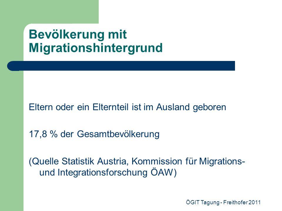 ÖGIT Tagung - Freithofer 2011 Bevölkerung mit Migrationshintergrund Eltern oder ein Elternteil ist im Ausland geboren 17,8 % der Gesamtbevölkerung (Qu