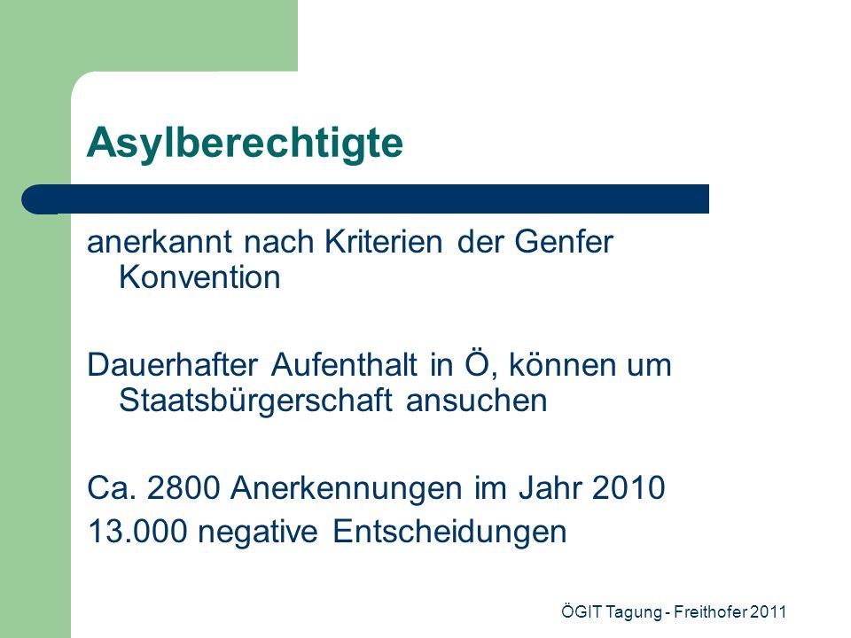 ÖGIT Tagung - Freithofer 2011 Asylberechtigte anerkannt nach Kriterien der Genfer Konvention Dauerhafter Aufenthalt in Ö, können um Staatsbürgerschaft