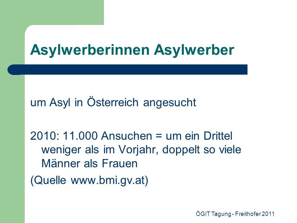 ÖGIT Tagung - Freithofer 2011 Asylwerberinnen Asylwerber um Asyl in Österreich angesucht 2010: 11.000 Ansuchen = um ein Drittel weniger als im Vorjahr