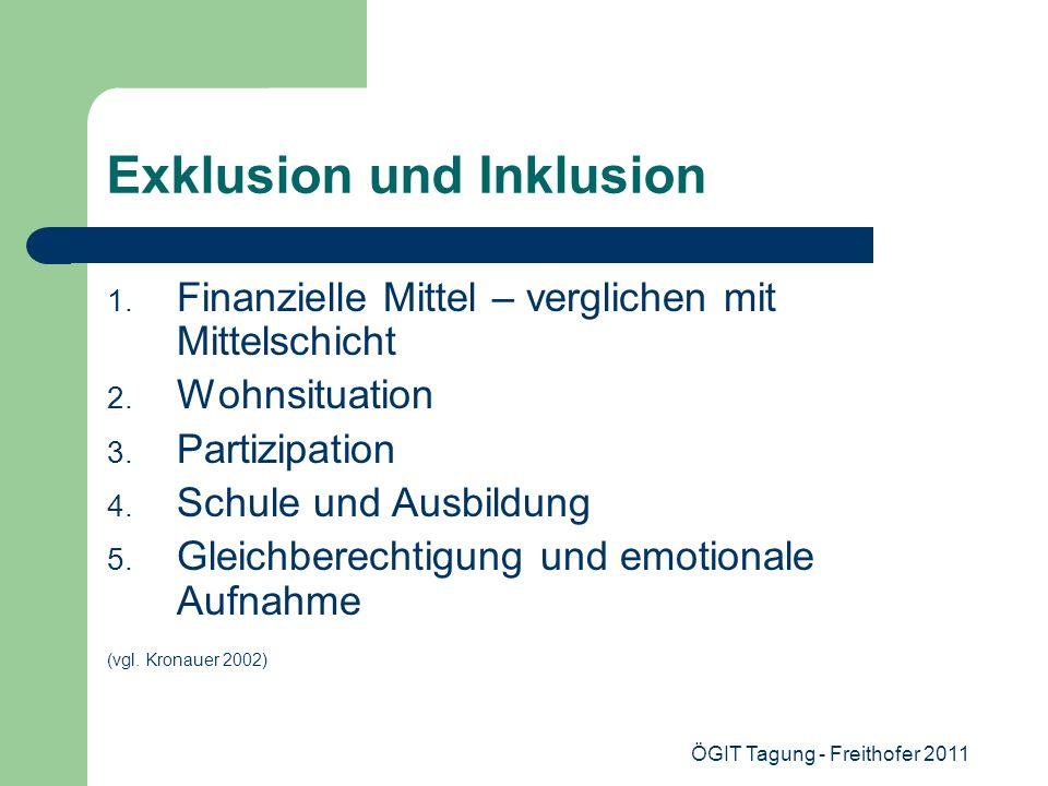 ÖGIT Tagung - Freithofer 2011 Exklusion und Inklusion 1. Finanzielle Mittel – verglichen mit Mittelschicht 2. Wohnsituation 3. Partizipation 4. Schule