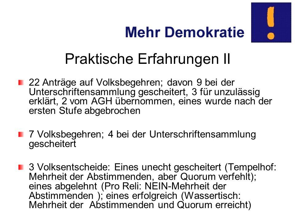 Praktische Erfahrungen II 22 Anträge auf Volksbegehren; davon 9 bei der Unterschriftensammlung gescheitert, 3 für unzulässig erklärt, 2 vom AGH übernommen, eines wurde nach der ersten Stufe abgebrochen 7 Volksbegehren; 4 bei der Unterschriftensammlung gescheitert 3 Volksentscheide: Eines unecht gescheitert (Tempelhof: Mehrheit der Abstimmenden, aber Quorum verfehlt); eines abgelehnt (Pro Reli: NEIN-Mehrheit der Abstimmenden ); eines erfolgreich (Wassertisch: Mehrheit der Abstimmenden und Quorum erreicht)