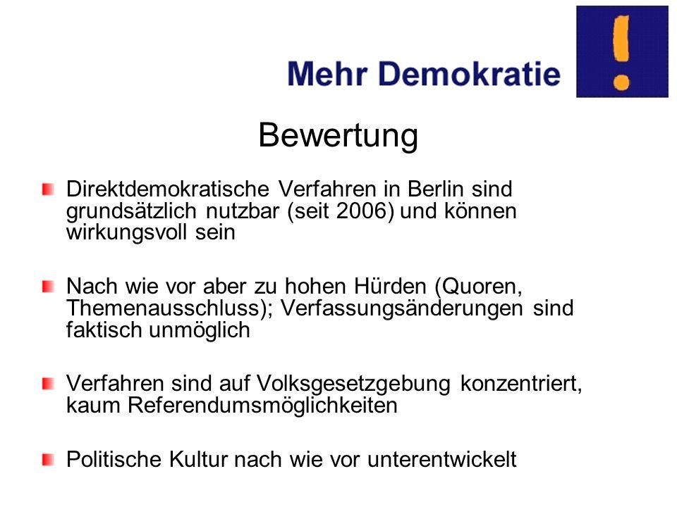Bewertung Direktdemokratische Verfahren in Berlin sind grundsätzlich nutzbar (seit 2006) und können wirkungsvoll sein Nach wie vor aber zu hohen Hürden (Quoren, Themenausschluss); Verfassungsänderungen sind faktisch unmöglich Verfahren sind auf Volksgesetzgebung konzentriert, kaum Referendumsmöglichkeiten Politische Kultur nach wie vor unterentwickelt