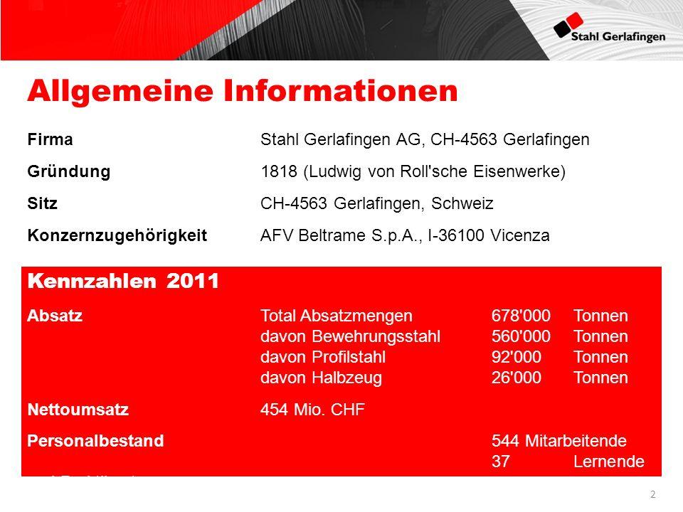 Allgemeine Informationen FirmaStahl Gerlafingen AG, CH-4563 Gerlafingen Gründung1818 (Ludwig von Roll'sche Eisenwerke) SitzCH-4563 Gerlafingen, Schwei