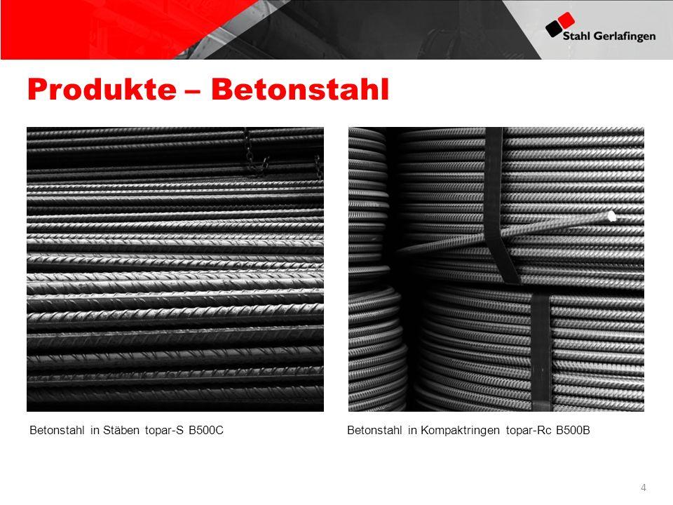 4 Produkte – Betonstahl Betonstahl in Stäben topar-S B500CBetonstahl in Kompaktringen topar-Rc B500B